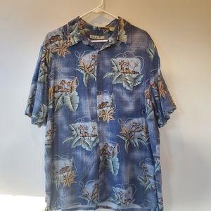 🐸 Hawaiian Mens Shirt Size XLT